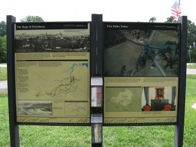 The Battle of Five Forks interpretive sign. Photo by Ken Lund.