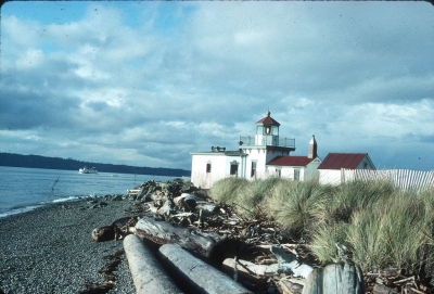 West Point Light Station. The lighthouse is listed in the National Register of Historic Places. Photo by Seattle Muni Archives/wiki.