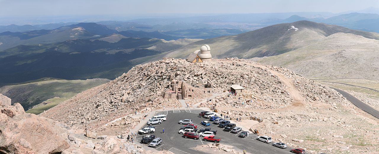 photo: View from the summit of Mount Evans onto the end of the Mount Evans scenic byway and the observatory. Photo by Daniel Schwen/wiki.