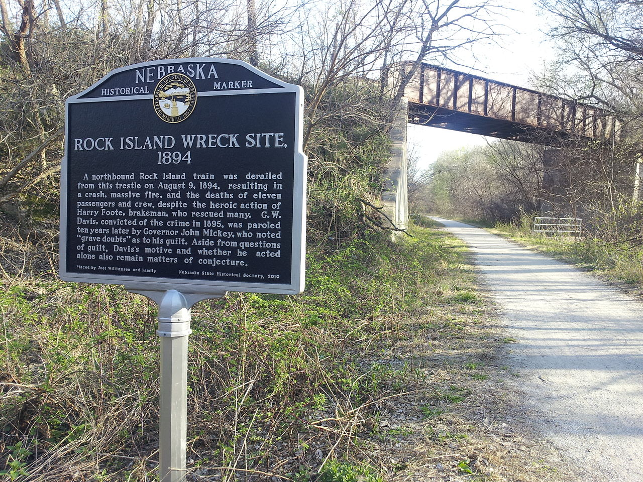 photo: Rock Island Wreck Site historical marker in the Wilderness Park. Photo by Crunchyskies.