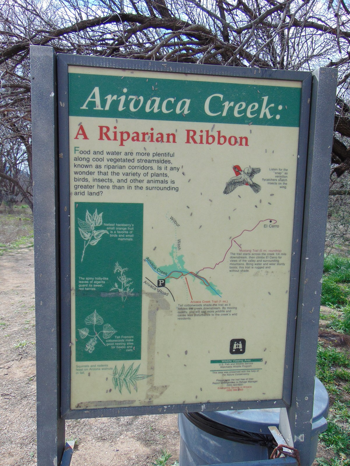 photo: Sign at the Arivaca Creek traihead in the Buenos Aires National Wildlife Refuge. Photo by The Old Pueblo wiki.