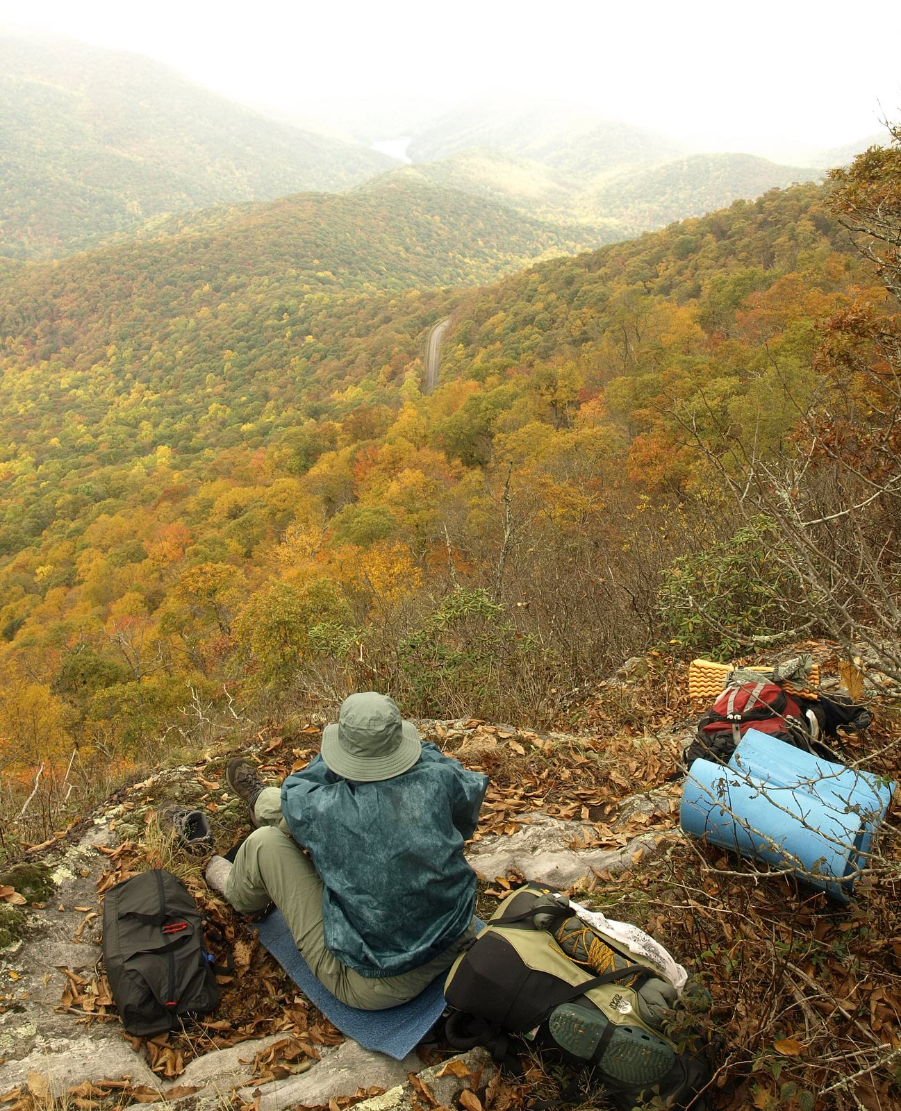 photo: Overlook near Lane Pinnacle, a peak east of Asheville, NC during peak fall foliage. Photo by Matt Mutel.
