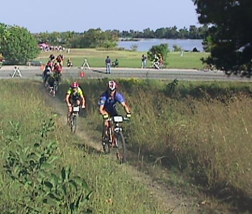 photo: Bicyclists starting out on the trail