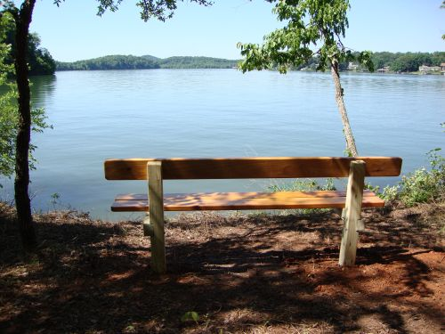 photo: Scenic lake view from trail bench on East Lakeshore Trail
