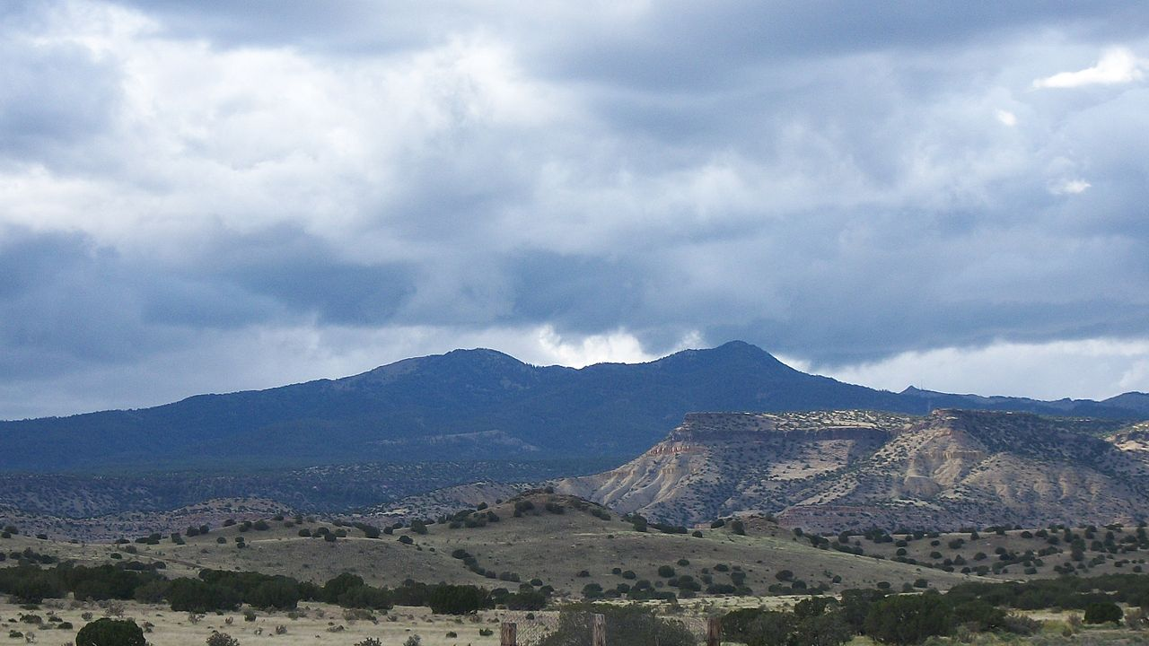 photo: Mount Taylor as seen from the village of Encinal, New Mexico. Photo by Charles Xavier/wiki.
