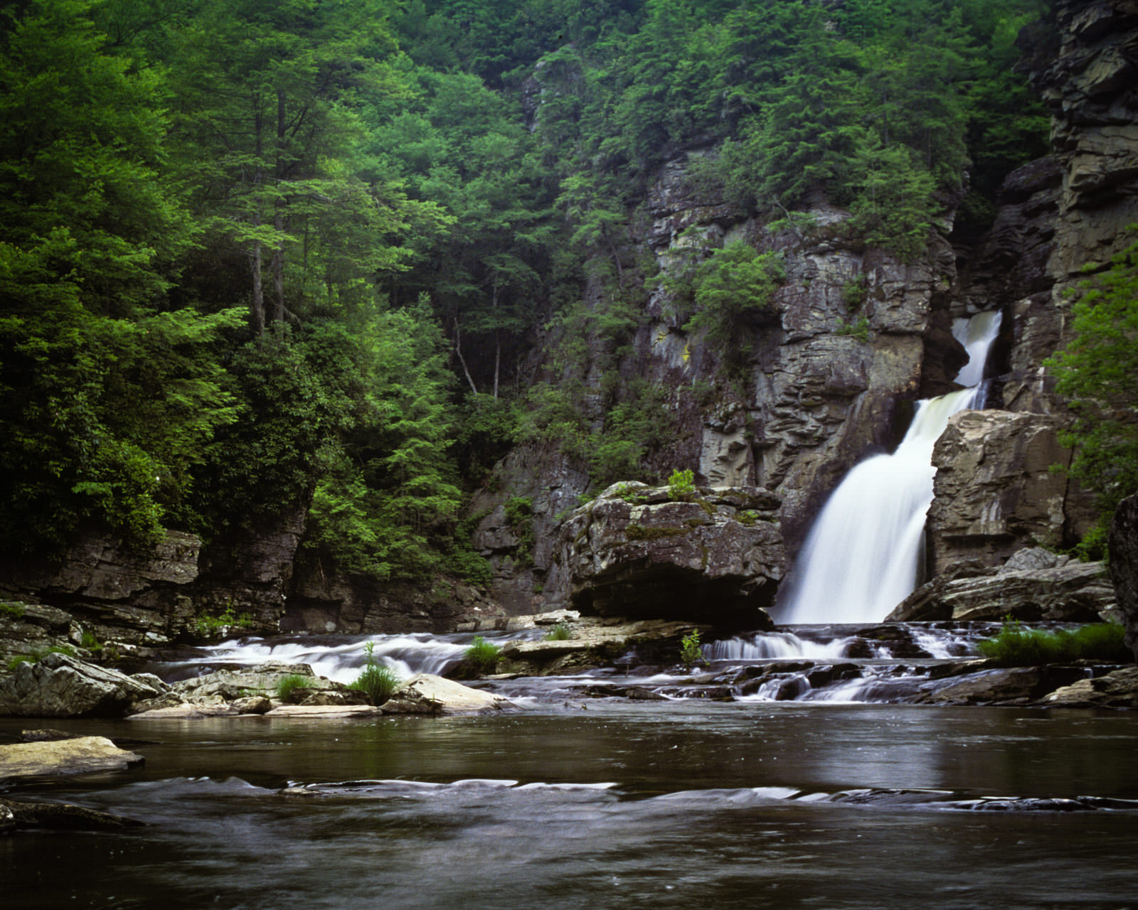 photo: Linville Falls from plunge pool. Photo by Bryan Hodges.