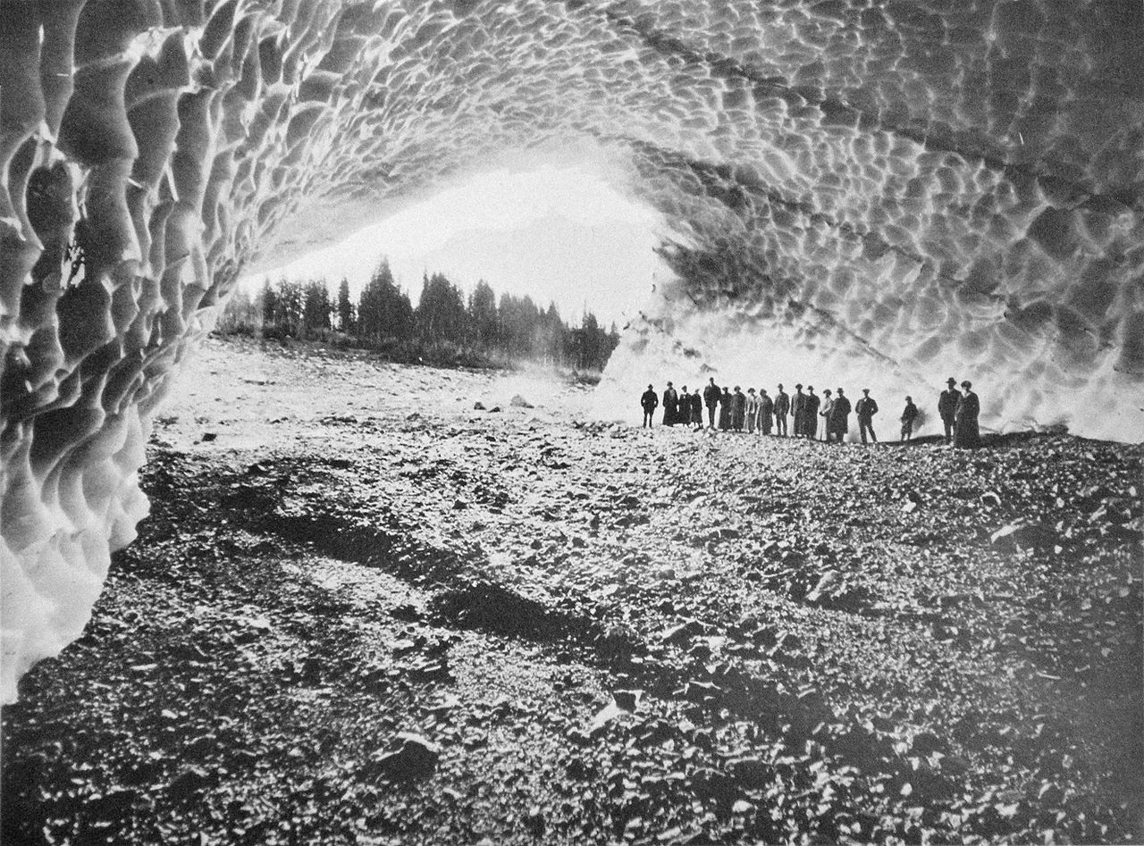 photo: 1916 - Cavern Beneath Millions of Tons of Ice in the Monte Cristo Mining District of Western Washington. Photo by Frank J. Nowell (1864-1950).